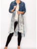 Denim Button-Up w/Navy Print Lace Duster