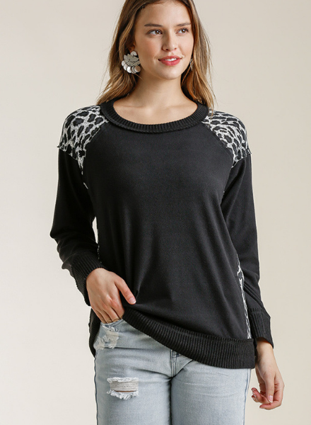 Cozy Leopard Accent Pullover