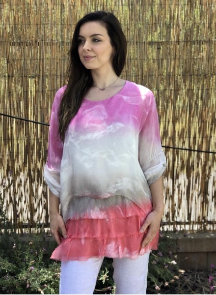 Ombre' Tiered Silk Top