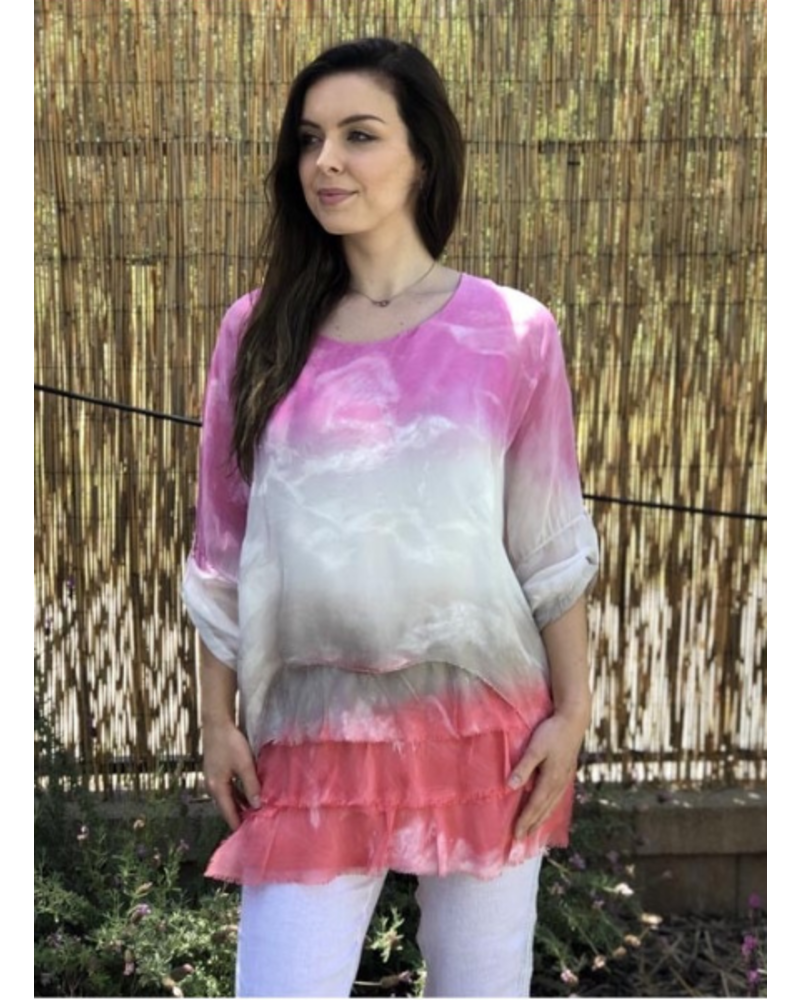 Ombre Tiered Silk Top