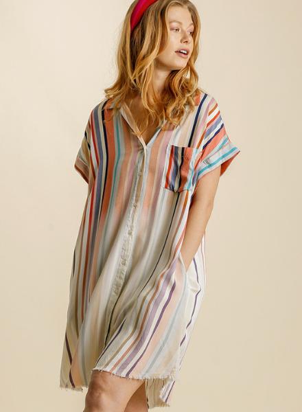 Ombre' Stripe Summer Button Dress