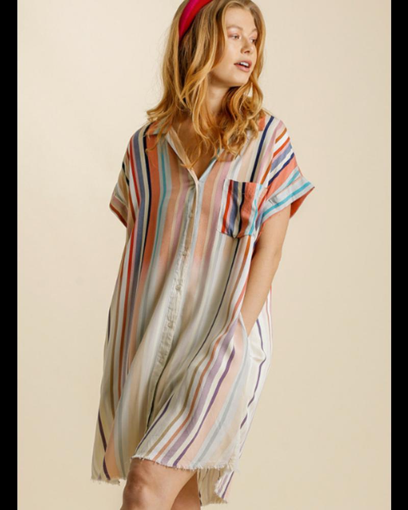 Bleached Stripe Summer Button Dress