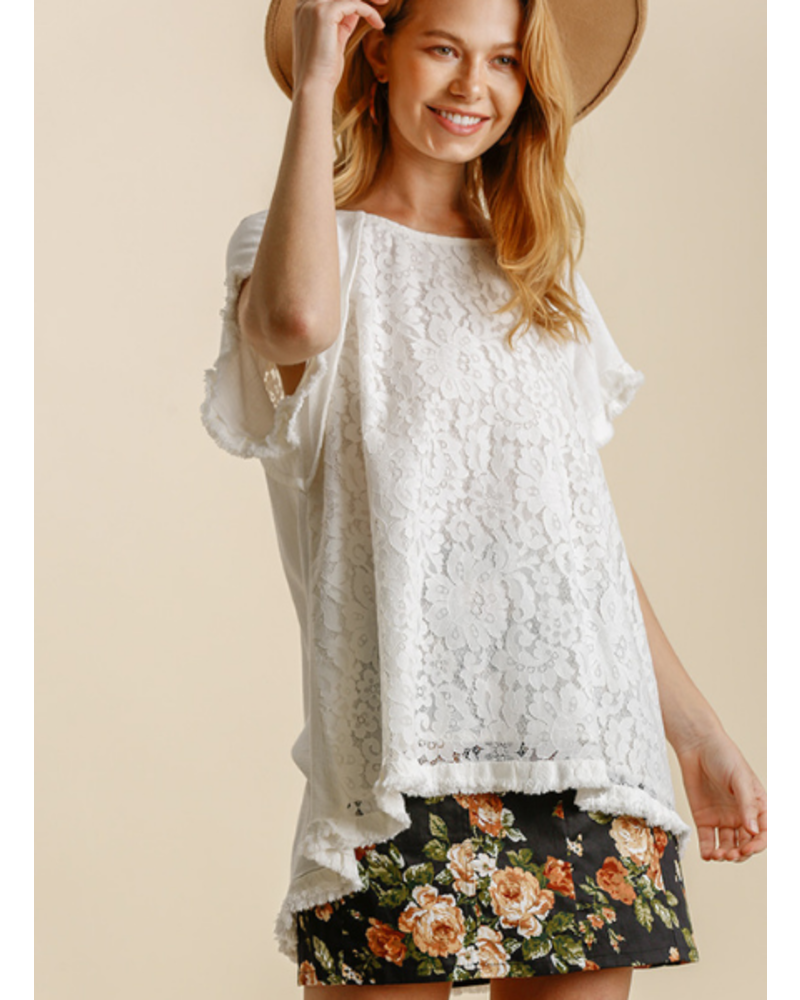 Floral Lace High Low Top