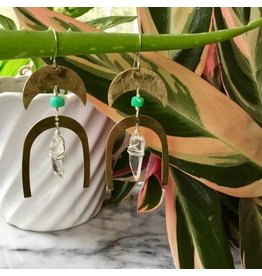 Cat D.esigns Jewelry Cat D.esigns Brass/Chrysoprase/Quartz Earrings