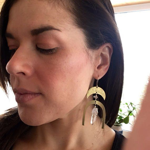 Cat D.esigns Jewelry Cat D.esigns Brass/Herkimer Diamond/Quartz Earrings