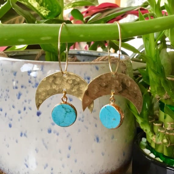Cat D.esigns Jewelry Cat D.esigns Hammered Brass/Turquoise Soleil Earrings