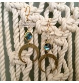 Cat D.esigns Jewelry Cat D.esigns Abalone/Quartz/Brass Statement Earrings