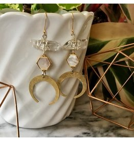 Cat D.esigns Jewelry Cat D.esigns White Shell/Quartz/Brass Statement Earrings