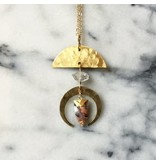Cat D.esigns Jewelry Cat D.esigns Agate/Herkimer Diamond/Brass Necklace