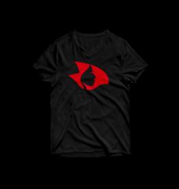 White Short Sleeve V Neck w/ Ruby Red Crystalline Radical Head
