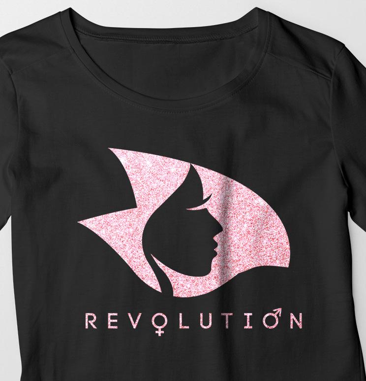Black Long Sleeve Tee w/Pink Crystalline Revolution Radical Head