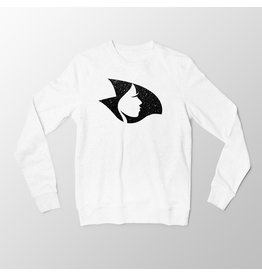 White Crewneck Sweatshirt w/Black Radical Crystalline Head