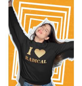 Black Crewneck Sweatshirt w/Gold Crystalline I Heart Radical