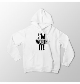 """I'm Worth It"" - White Hoodie"