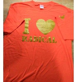 """Orange """"I Heart Radical"""" Short Sleeve T-Shirt - Large"""