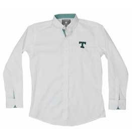 Dress Shirt Falling Leaf  White