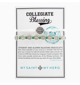 My Saint My Hero Blessing Bracelet Collegiate Silver with Green Cord and White Breathe