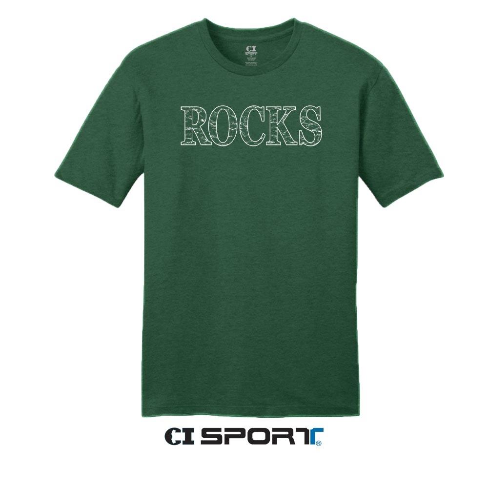 CDI SPORTS Rocks Tee Shirt Light Weight Forest Heather