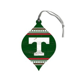 League Legacy Wood Christmas Ornament Stripe Green