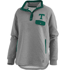 pressbox Pressbox Quilted Heather Grey and Green Long Sleeve
