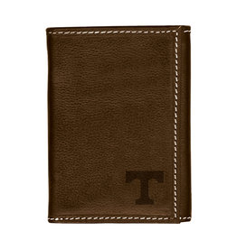 Trifold Brown Leather Wallet with corner T