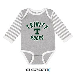 CI Sports Long Sleeve Grey/White Stripe Onesie