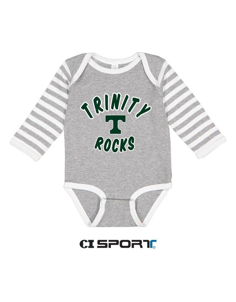 CI Sports Long Sleeve Grey/White Stripe Onesie