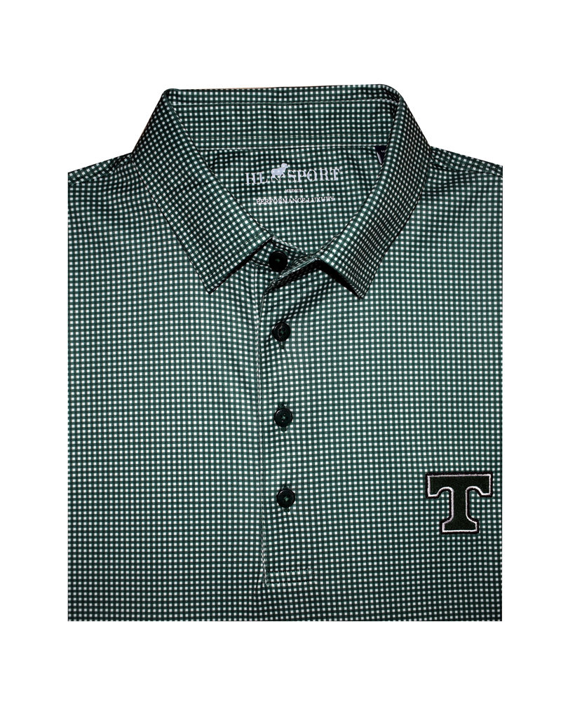 Horn Legend Performance Luxury Polo Green and White Pattern