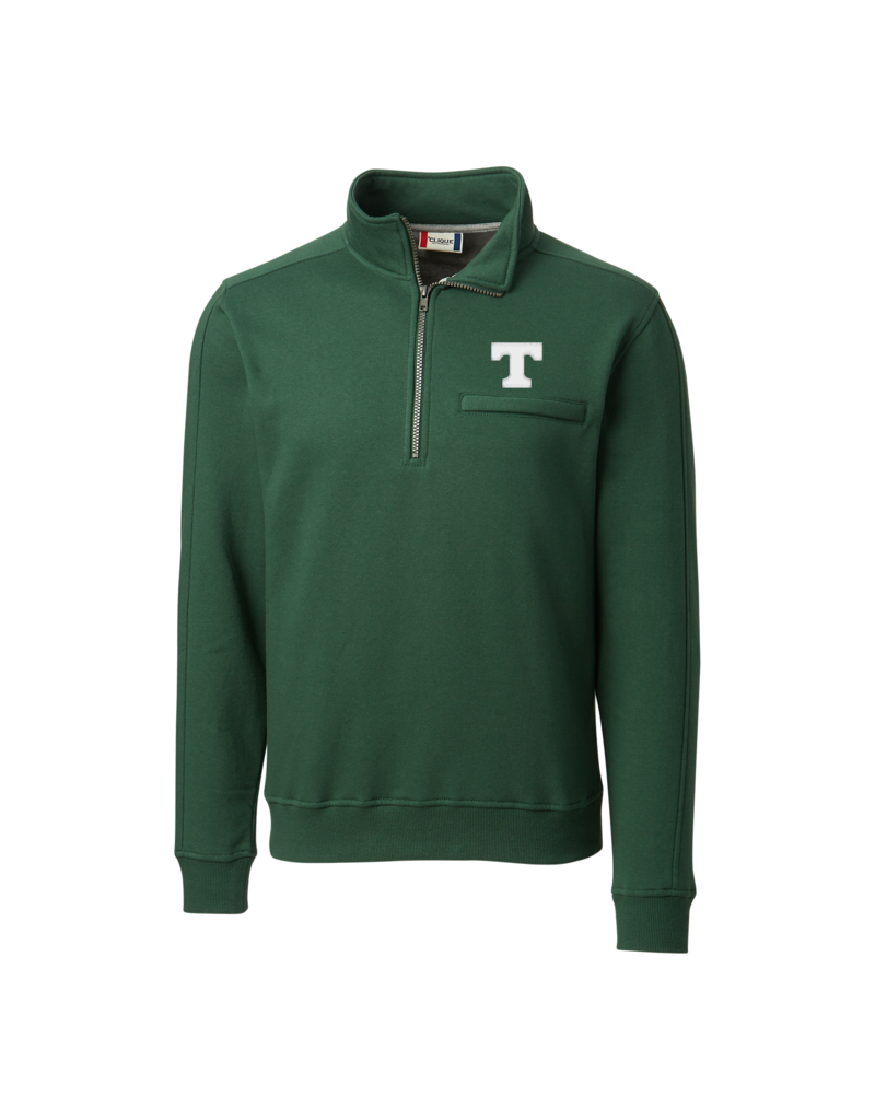 Clique/Cutter Buck Green Soft Cotton 1/4 Zip School Approved