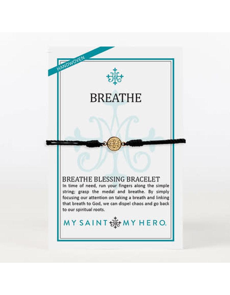 My Saint My Hero Breathe Bracelet Gold with Black Cord