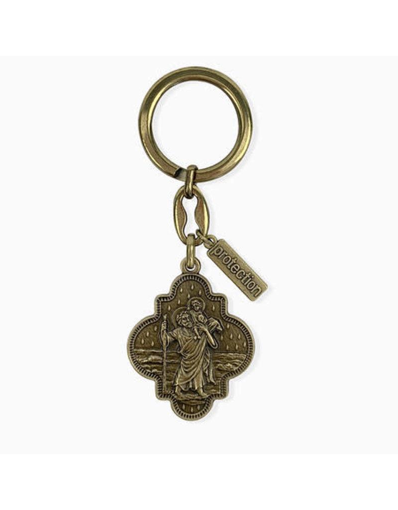 My Saint My Hero Travel Protection St. Christopher Keychain Bronze