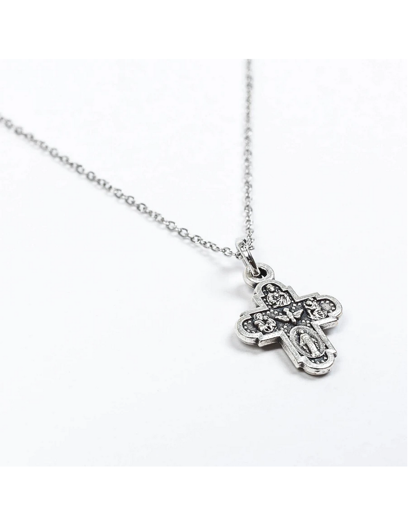 My Saint My Hero Four Way Cross and Chain Necklace