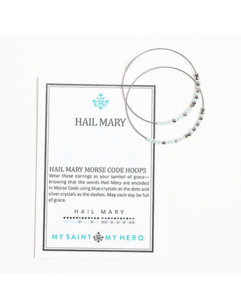 My Saint My Hero Hail Mary Earrings Morse Code