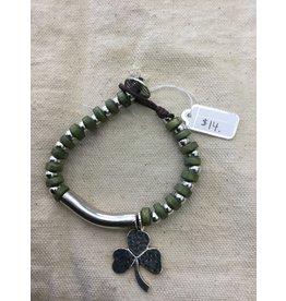 McTickets Final Sale Green wood, silver bead, shamrock charm Bracelet
