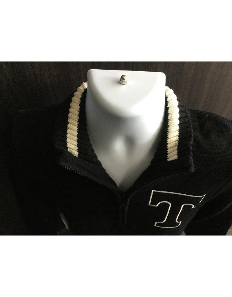 Nelson 1/4 Zip Black Knit Sweater