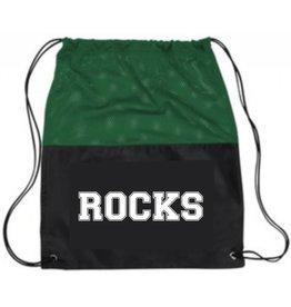 PE BAG BLACK/GREEN MESH CINCH PACK