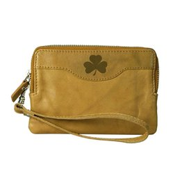 Leather Zip Tan Clutch w/Shamrock