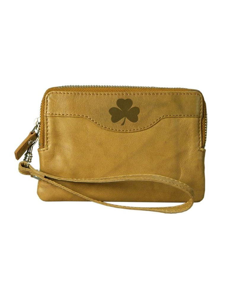 Carolina Sewn Leather Zip Tan Clutch w/Shamrock