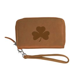 Carolina Sewn Tan Party Clutch Leather Shamrock