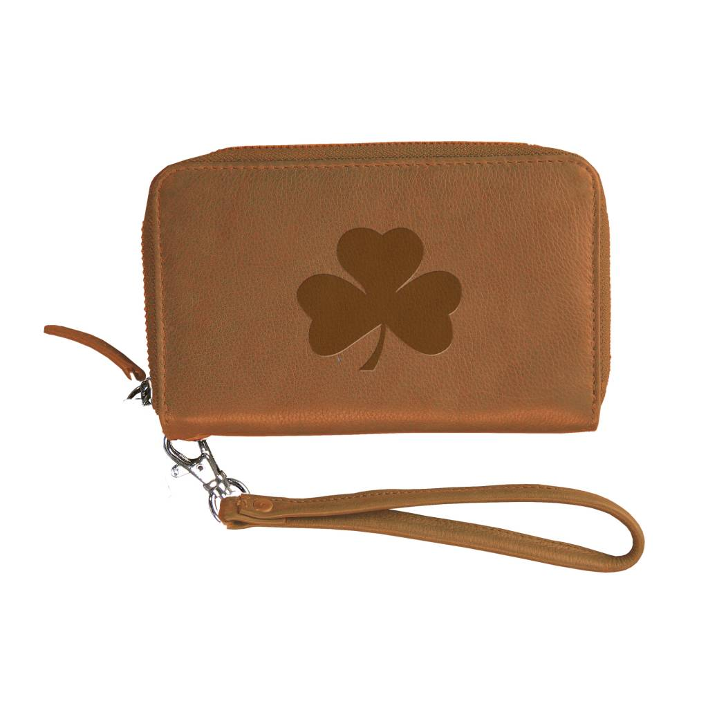 Tan Party Clutch Leather Shamrock
