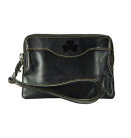 Leather Zip Black Clutch w/Shamrock