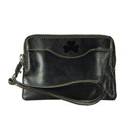 Leather Zip Black Clutch w/Shamrock