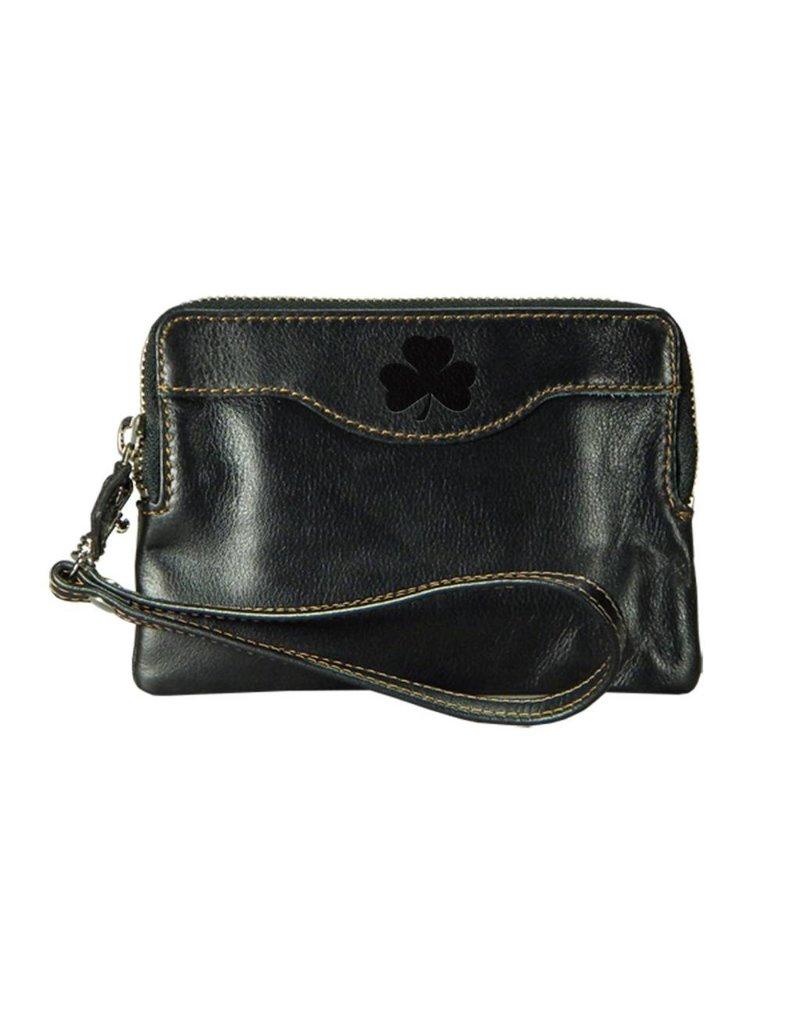 Carolina Sewn Leather Zip Black Clutch w/Shamrock