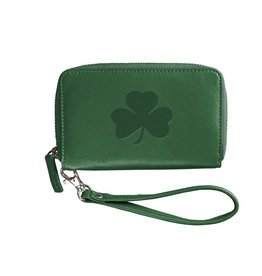 Carolina Sewn Green Party Clutch Leather Shamrock