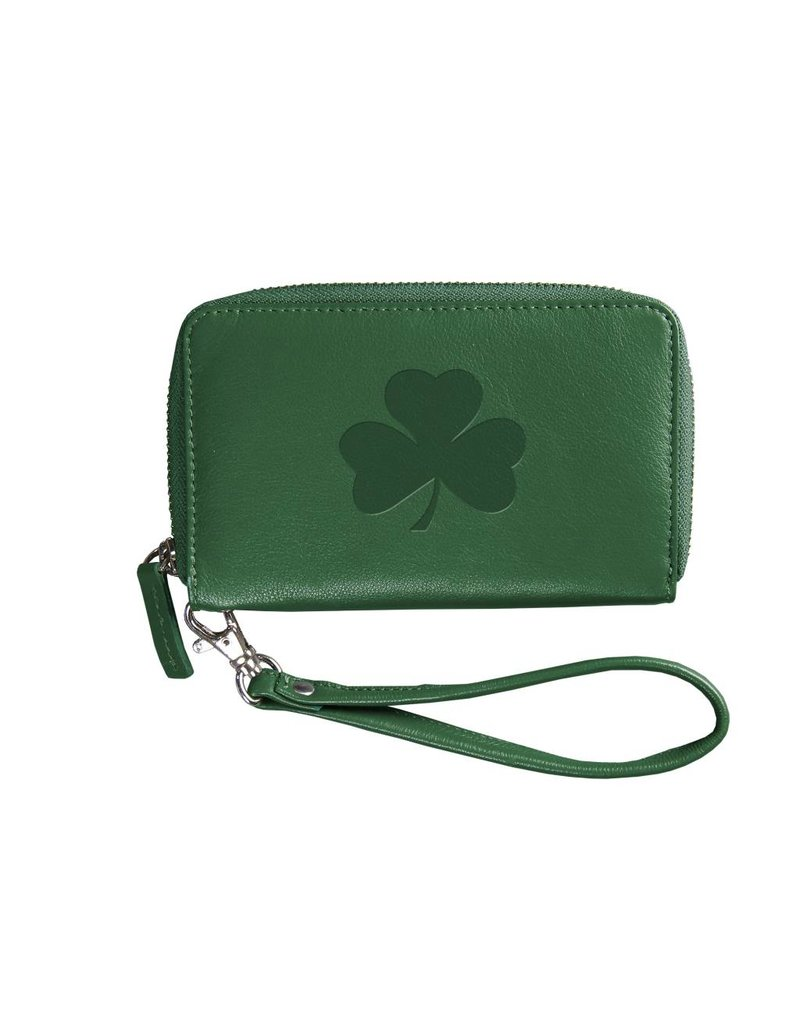 Carolina Sewn Green Party Clutch Leather Shamrock