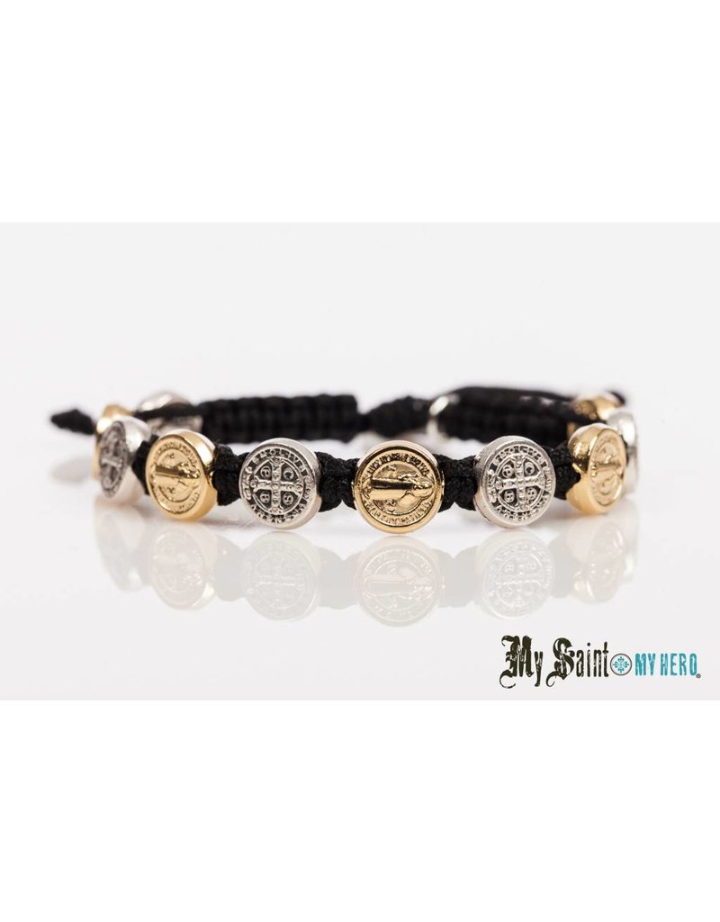 My Saint My Hero Blessing Bracelet Silver/Gold with Black Cord