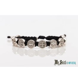 My Saint My Hero Blessing Bracelet Silver with Black Cord