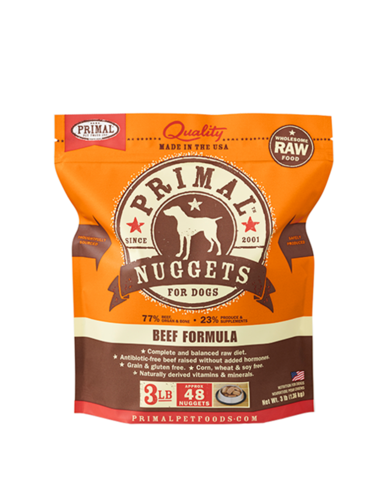 Primal Frozen Raw Dog Beef Nuggets 3 lb