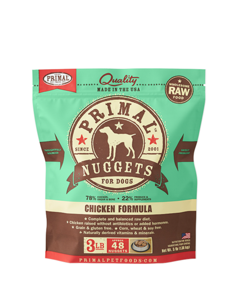 Primal Frozen Raw Dog Chicken Nuggets 3 Lb
