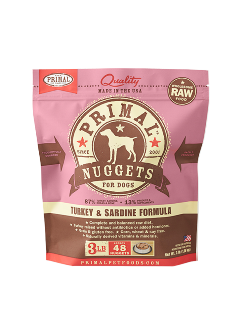 Primal Frozen Raw Dog Turkey & Sardine 3 Lb